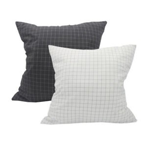 CURCYA White Dark Gray Plaid Cushion Covers Washed Cotton Bedding Pillow Cases