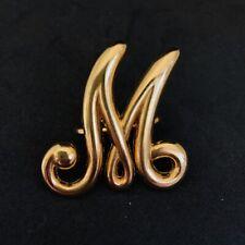 Vintage Scarf Ring Clip Letter M Gold Tone
