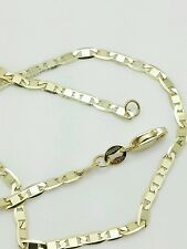 """10k Solid Yellow Gold Mariner Anchor Necklace Pendant Chain 18"""" 2.3mm"""