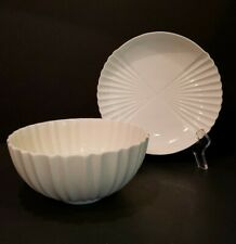 Royal Copenhagen 3579 & 3420 White Fluted Round Bowl & Plate EXCELLENT