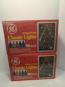 Vintage Lot (2) GE String-A-Long Classic Light Set 50 Indoor/Outdoor Multi-Color