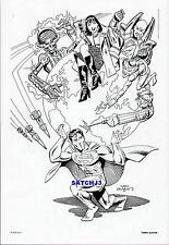 SUPERMAN vs VILLAINS LEX LUTHOR, BRAINIAC DC COMICS ART PRINT TERRY AUSTIN 1984