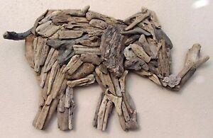 Hand Made Driftwood Elephant Wall Art Unusual Carved Ethnic Elephant Wall Art