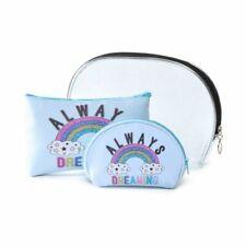 3 Set Lot Rainbow Always Dreaming Makeup Bag Cosmetic Tote Purse Clutch Pride