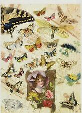 Papel De Arroz-Vintage Mariposas-Para Decoupage, Scrapbook hoja, papel del arte