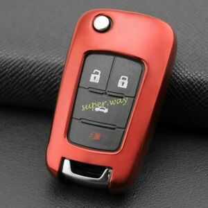 For Chevrolet Holden Buick Camaro Regal TPU Red Car Flip Key Shell Case Cover