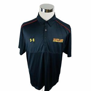 Under Armour Heat Gear Maryland Terrapins NCAA College Black Polo Shirt Men's L