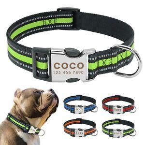 Reflective Personalized Dog Collar Medium Large Nylon Custom Name ID Engraved