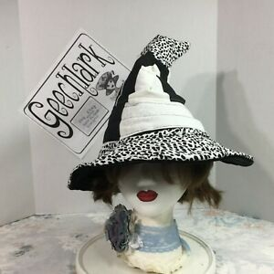 Black and white witch hat, wizard, wiccan, magic, cosplay, sz L, Geechlark 5968