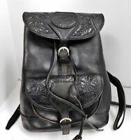 Veari Black Tooled Leather Large Backpack Bag Rare