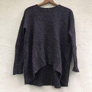 EUC Eileen Fisher Sweater Sz Petite Small, OVERSIZED High Low Hem Marbled Knit