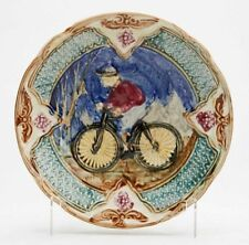 ANTIQUE CONTINENTAL MAJOLICA BICYCLE PLATE 19TH C.