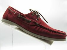 Cole Haan C12550 Size 13 M Red Canvas Slip On Moc Toe Boat Casual Mens Shoes