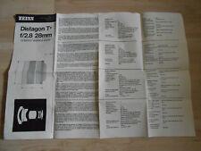 Gebrauchsanleitung Zeiss Distagon T F/2.8 28MM Contax/Yashica supporto