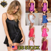 Sexy Women's Satin Silk Sleepwear Pajamas Nightdress Lingerie Night Dress Skirt