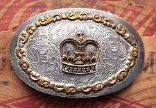 Vintage Comstock Silver Western Cowboy Cowgirl Belt Buckle Crown