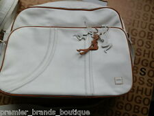 NEW HUGO BOSS MENS WHITE LEATHER POLE STRIPPER DANCER GIRL MESSENGER TRAVEL BAG