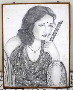 Old Big Indian Beautiful Woman Hand Sketch Collectible Indian Lady Pencil Sketch
