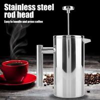 Double Wall Stainless Steel Coffee Maker French Press Tea Pot with Filter Silver