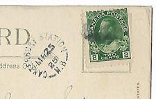"(0557) STAMPS CANADA 1925   ""CANTERBURY STATION, NB"" SPLIT RINGCANCEL ON P/C"