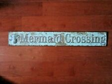 "Mermaid Crossing Metal Sign Nautical Wall Decor - 18"" x 2-3/4"""
