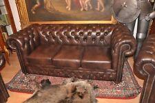 Chesterfield 3 Sitz Sofa Devon mit Bettfunktion in Rinder leder
