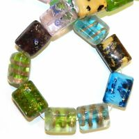 G1439 Assorted Multi-Color 20mm Puffed Flat Rectangle Lampwork Glass Beads 15""