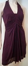 KAREN MILLEN Plum Burgundy Halter Neck Ruched Front & Skirt Evening Dress UK10