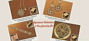 💥NEW💥Signature Collection 4Pce Jewelry Set-Bracelet, Earrings, Necklace & Pin