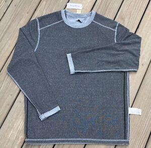 Tommy Bahama Men's Long Sleeve Reversible Flip Tee Black/Grey Medium New