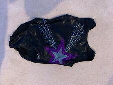 Shiny Black Ozone Gymnastics Leotard With Purple And Silver Star Adult Small