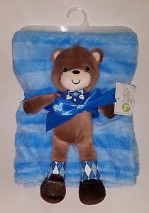 """NWT Baby Gear Blue Striped Fleece Blanket 30""""x36"""" Brown Bear Plush Lovey Lot Set"""