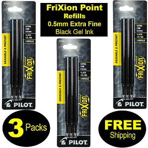 3 Packs, Pilot FriXion Point Refills 77343 0.5mm Extra Fine Point, Black Gel Ink