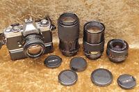 MINOLTA XD7 SLR 35mm film camera.. With 4 x lenses/ MD Rokkor/ auto film winder