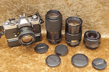 MINOLTA XD7 SLR 35mm film camera.. With 4 x lenses/ MD Rokkor/ auto film winder