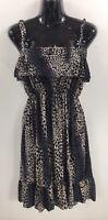 Womens Dress Size Large Gray Black Stretch Knee Length Sheath Jumper Dressy