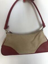 L K Bennett Shoulder Bag Beige Canvas With Red Leather Trim New