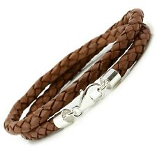 Braided Leather & Sterling Silver Bracelet-5mm Double Wrapped-Light Brown