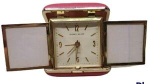 Vintage Phinney Walker Fold Up Wind Up Travel Alarm Clock w/ Picture Frames.