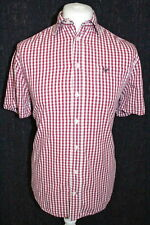 CREW CLOTHING Mens Pink Check Size Medium Tailored Fit Short Sleeved Shirt