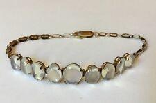Victorian Edwardian Antique 9ct 9k Gold Fancy Link Oval Moonstone Bracelet