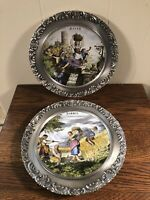 "2 Vintage ROSLER Germany Collectible Plates SOMMER/HERBA 9"" Ornate Silver Holder"