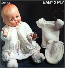 """Tejer patrón * muñecas del bebé ropa abrigo Vestido Chaleco Botas Americanos Layette 14/16"""""""