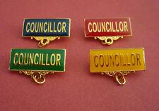 COUNCILLOR Metal Badge Bar Pin Choose From 4 Colours