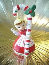 Vintage Napco Christmas Angel Girl Holds Candy Cane Bell Figurine ADORABLE!