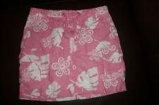 sz 6 regular Gap Kids pink Linen skirt white flowers adj waist pockets tie VGUC