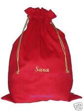 Personalised BIG Red Cotton Cordurory Christmas Santa Sack Bag Gathers 66cmx50cm