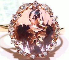 6.75CT 14K Rose Gold Natural Morganite White Diamond Vintage Engagement Ring