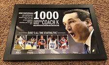 Duke Blue Devils Coach K 1000 Wins Framed Posted Thick Glass 15x21 Laettner Hill
