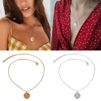 Retro Gold Rose Flower Round Coin Pendant Long Chain Necklace Jewelry for Women